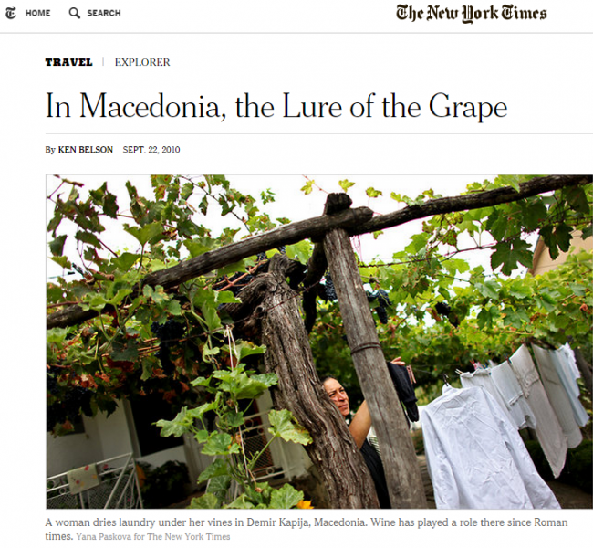 Article about the Macedonian wine